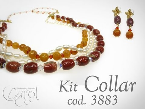 KIT 3883  Kit collar red jasper y perlas x und