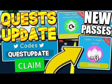 QUEST GEMS AND EGG GAMEPASS UPDATE CODES IN UNBOXING SIMULATOR! ROBLOX