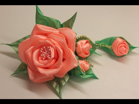 Цветы своими руками из атласной ленты мастер класс видео