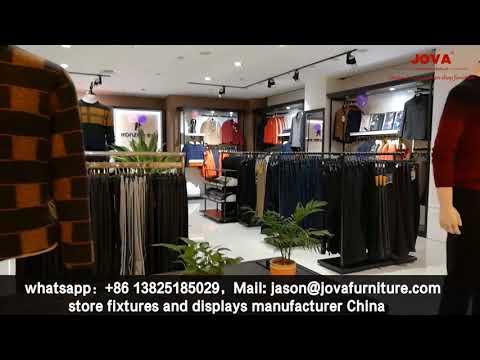 retail men's clothing store interior design, clothes display racks - Jova furniture