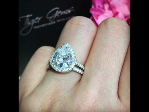 3.5 ctw Pear Halo Bridal Set