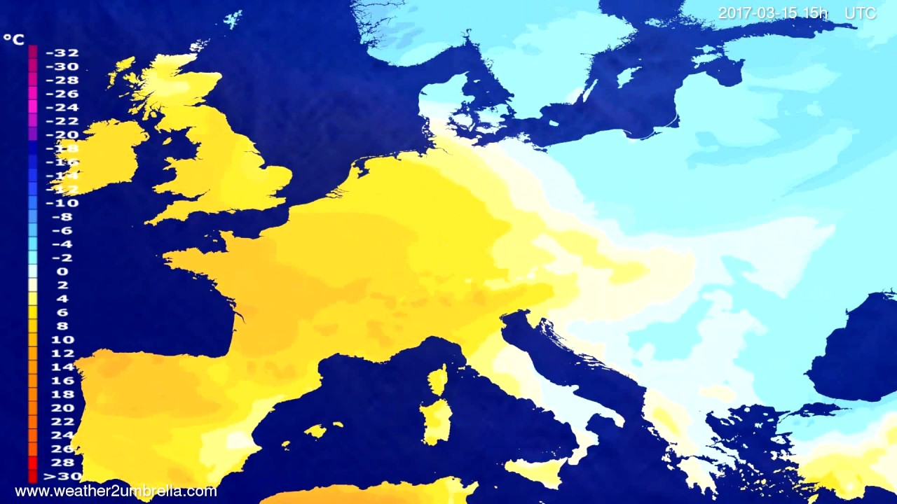 Temperature forecast Europe 2017-03-12