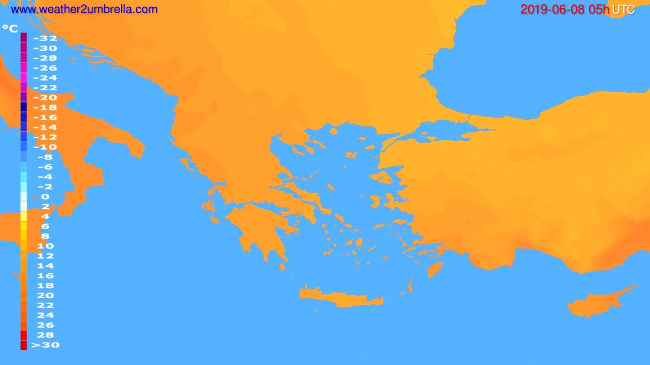 Temperature forecast Greece // modelrun: 00h UTC 2019-06-06
