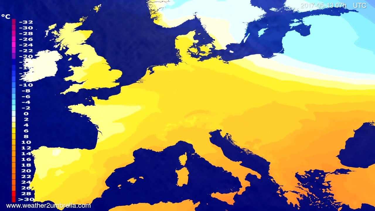 Temperature forecast Europe 2017-05-09