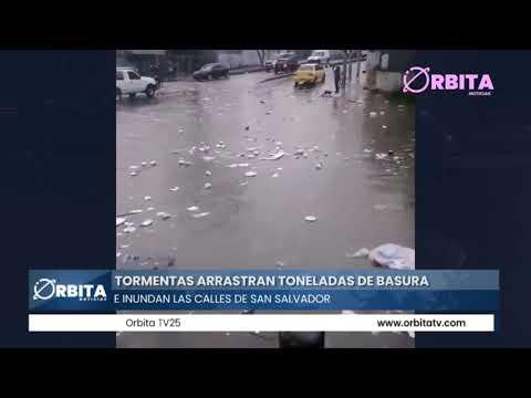 Tormentas arrastran toneladas de basura e inundan las calles de San Salvador