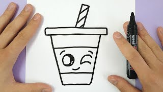 HOW TO DRAW A CUTE DRINK - SUPER EASY AND KAWAII