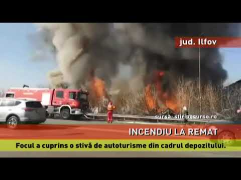 Incendiu de amploare la un Remat auto din Voluntari