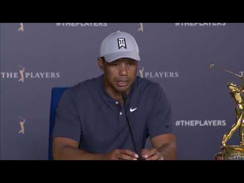 Tiger Woods discussing his neck pain at The Players Championship 2019
