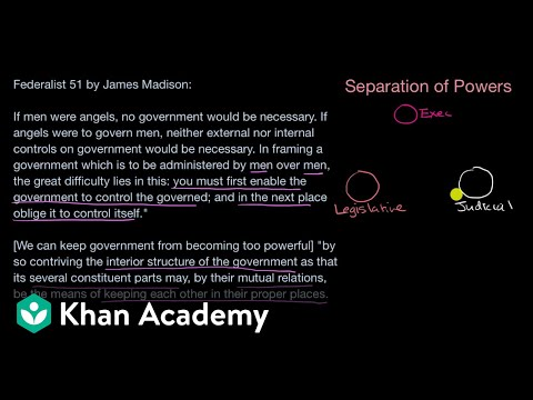 Separation Of Powers And Checks And Balances Video Khan Academy