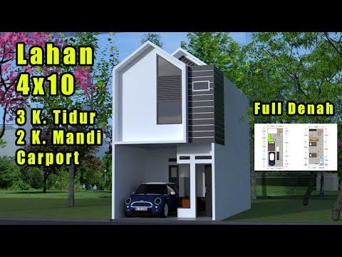 Desain rumah Minimalis 4x10 - 3 Kamar Tidur - Carport
