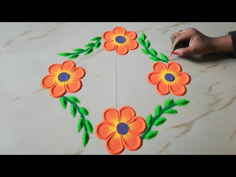 Very easy small and quick rangoli design by Sangeeta