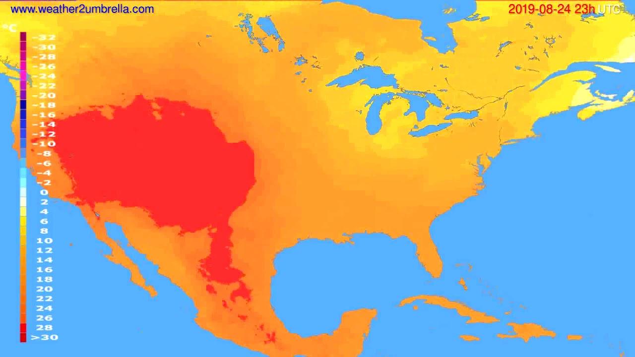 Temperature forecast USA & Canada // modelrun: 12h UTC 2019-08-21