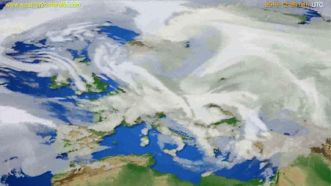 Cloud forecast Europe // modelrun: 12h UTC 2019-12-21