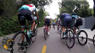 Weekly sunday morning rip your legs of ride in Los Angeles by La Grange. Shown is the start of the fast part from the foot of...