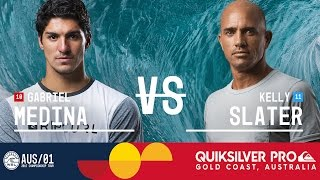Gabriel Medina faces off against Kelly Slater in Heat 4 of the Quarterfinals at the Quiksilver Pro Gold Coast 2017 in Australia.