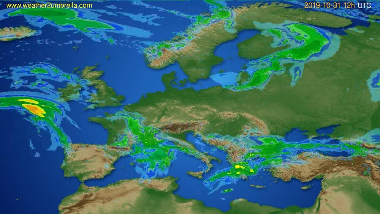 Radar forecast Europe // modelrun: 00h UTC 2019-10-31