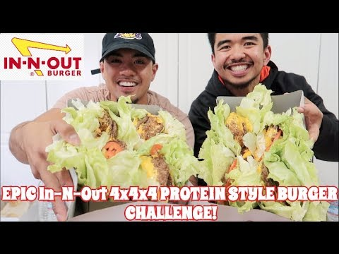 EPIC IN-N-OUT 4x4x4 PROTEIN STYLE BURGER CHALLENGE!