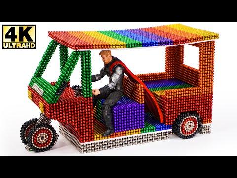 DIY How To Make Electric Rickshaw (Tuk Tuk) with Magnetic Balls Satisfaction 100% | Magnetic Man 4K