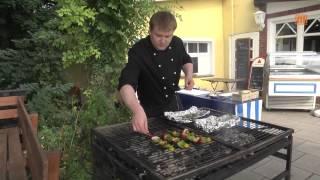 Gegrilltes Hechtfilet mit Rosmarinkartoffeln und Gemüsespieße