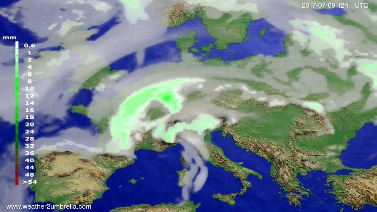 Precipitation forecast Europe 2017-07-05