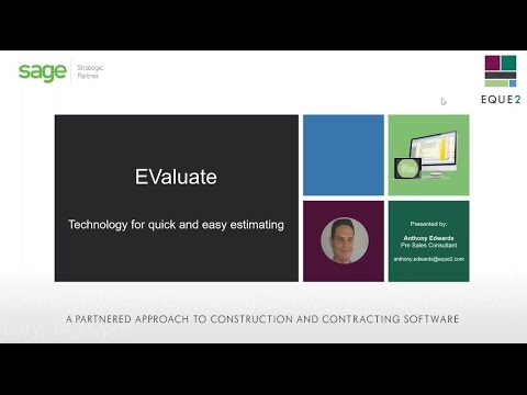 Web Demo -Technology for quick and easy estimating/EValuate Estimating Software from Eque2