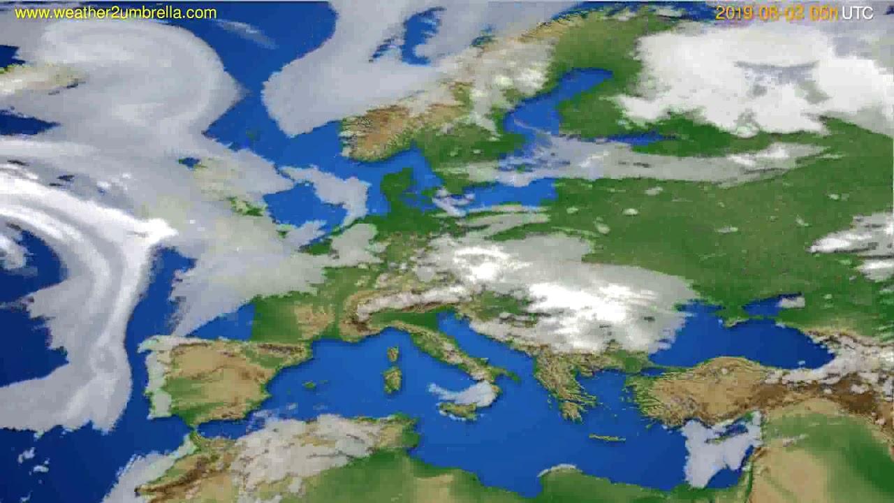 Cloud forecast Europe // modelrun: 00h UTC 2019-08-01