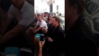 U2 at the Hotel de Russie just before leaving Rome.