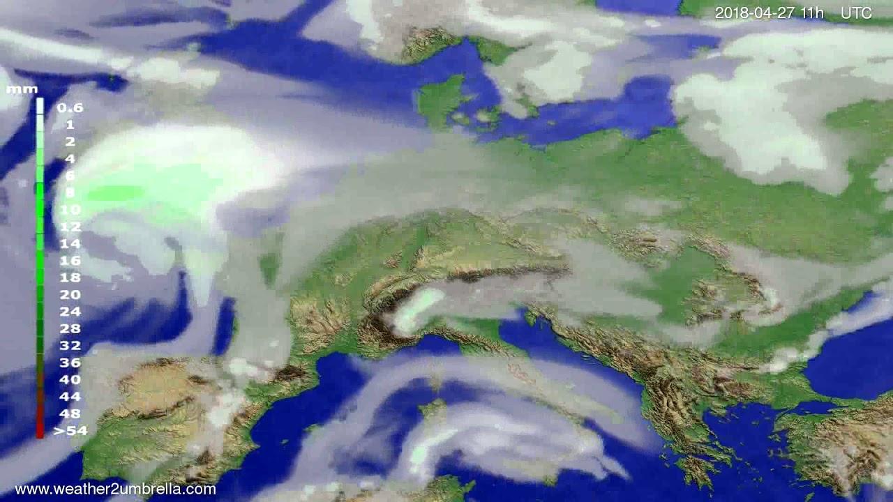 Precipitation forecast Europe 2018-04-24