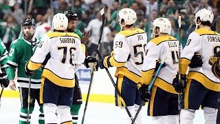Stars and Predators exchange handshakes after Dallas wins series in Game 6 by NHL