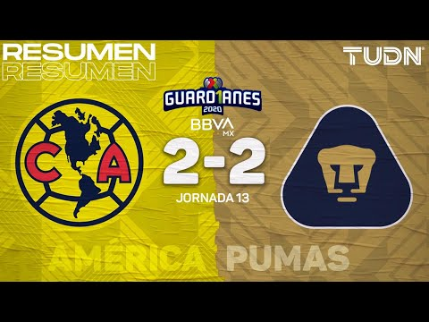 Resumen y goles | América 2-2 Pumas | Guard1anes 2020 Liga BBVA MX - J13 | TUDN