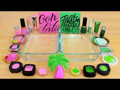 Pink Vs Green - Mixing Makeup Eyeshadow Into Slime! Special Series 107 Satisfying Slime Video