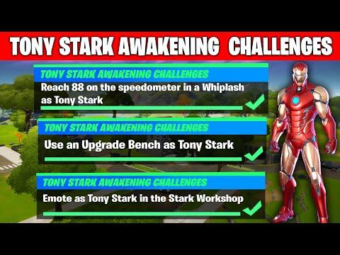 Tony Stark Awakening Challenges Guides Fortnite | 88 ON SPEEDOMETER, UPGRADE BENCH, STARK WORKSHOP