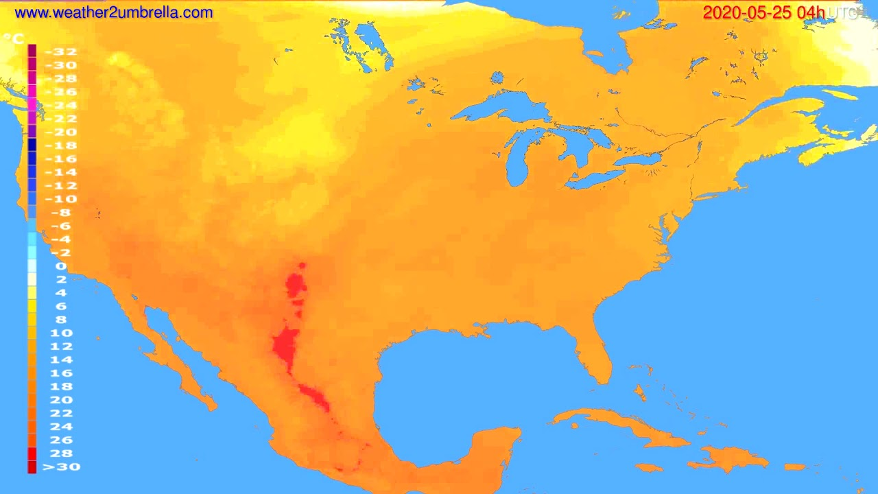 Temperature forecast USA & Canada // modelrun: 12h UTC 2020-05-24