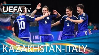 Watch highlights as UEFA Futsal EURO finals debutants Kazakhstan knock holders Italy out 5-2 in the last eight http://www.youtube.com/subscription_center?add...