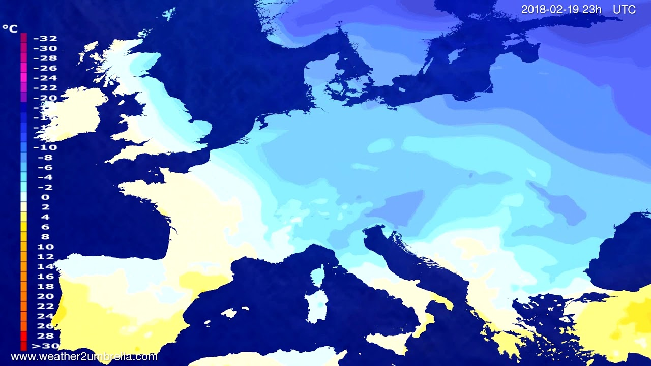 Temperature forecast Europe 2018-02-16