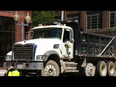 Pedestrian hit by dump truck in downtown Roanoke