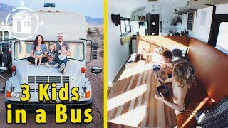 Family Downsizes to a School Bus Home to Live on the Road