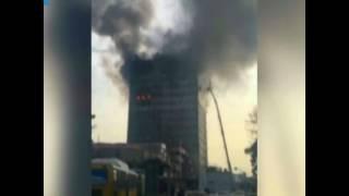 آتشسوزی گسترده در ساختمان پلاسکو تهران