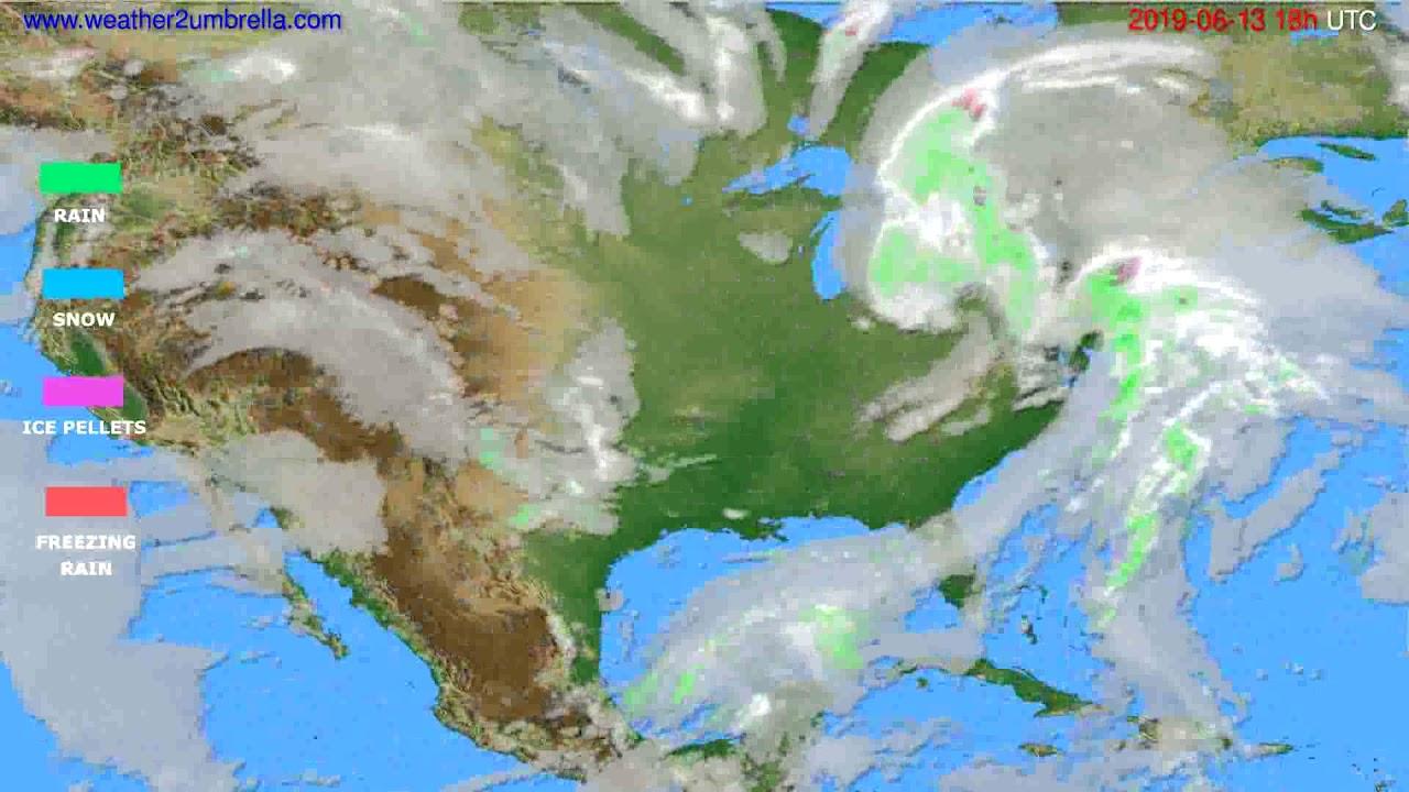 Precipitation forecast USA & Canada // modelrun: 00h UTC 2019-06-11
