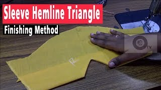 Sleeve hemline finishing method | Sleeve Cutting and Stitching in tamil | ஸ்லீவ் முக்கோணம்