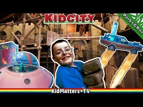 Brick Wall Destroyed! KidCity CHILDREN's MUSEUM Fun Indoor Play Area-Activities[KM+Parks&Rec S01E13]