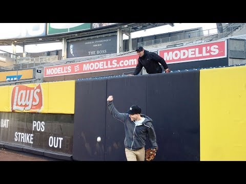 Goofing around on the field at Yankee Stadium