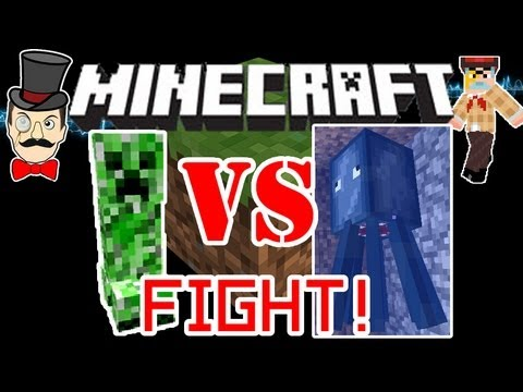 Minecraft CREEPER vs SQUID Mob Battle ! Explosions VS Naval !