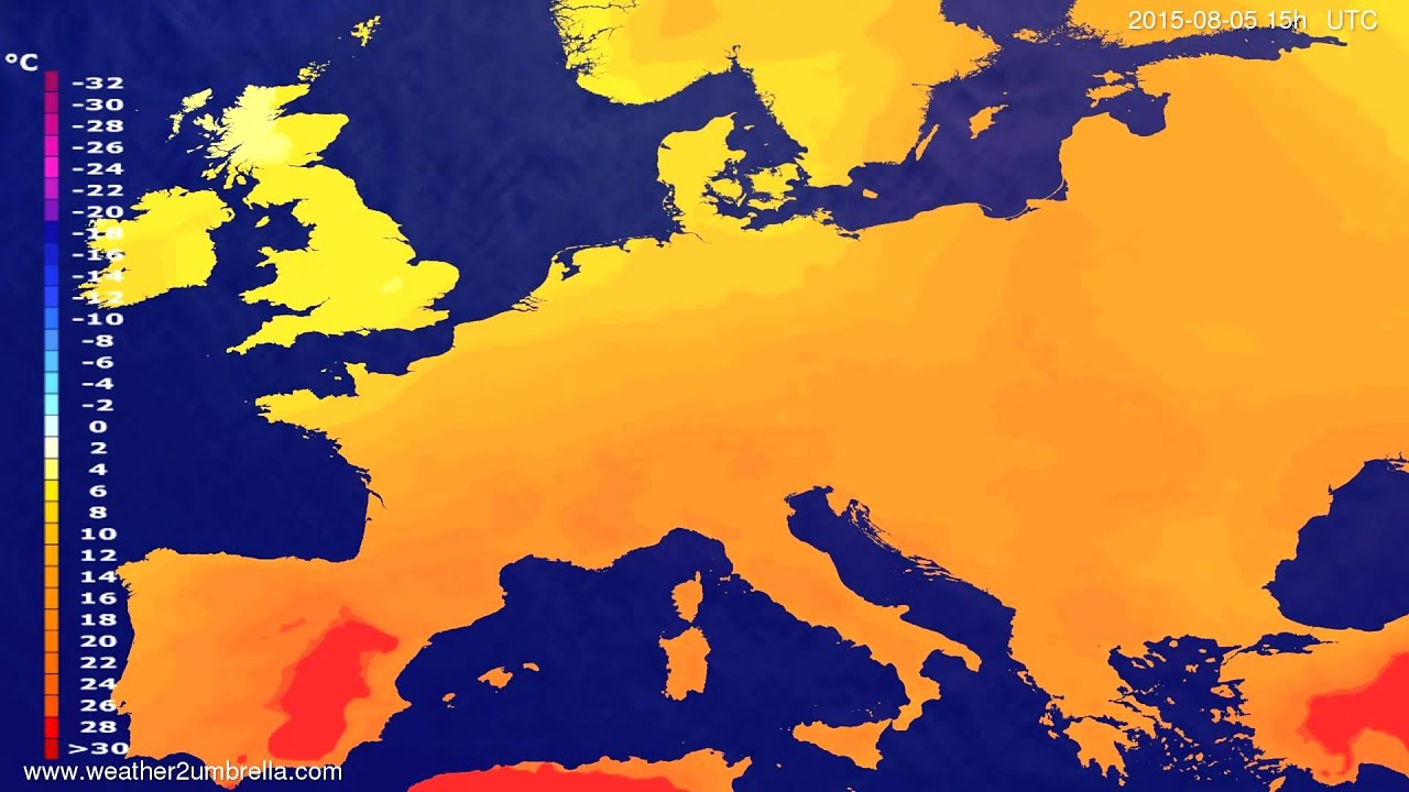 Temperature forecast Europe 2015-08-02