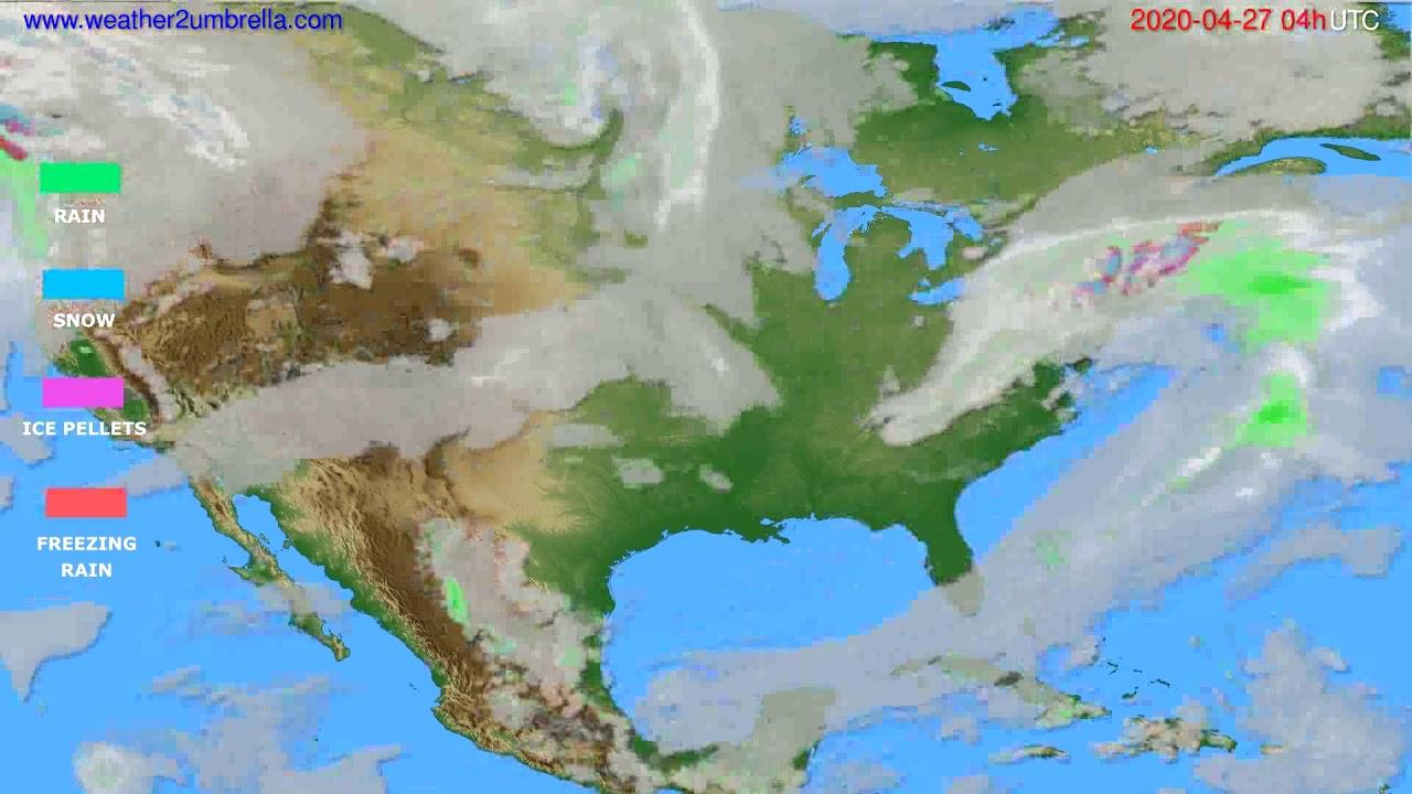 Precipitation forecast USA & Canada // modelrun: 12h UTC 2020-04-26