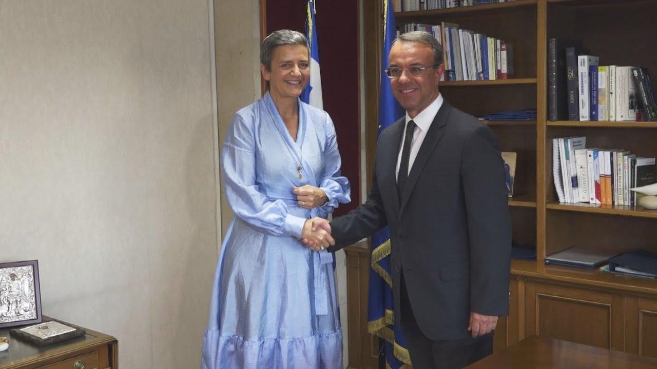 Συνάντηση του Χρήστου Σταϊκούρα με την Επίτροπο Ανταγωνισμού της Ε.Ε
