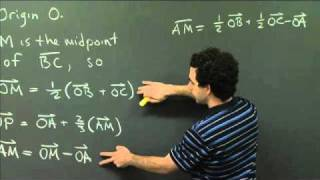 Coordinate Free Proofs: Centroid Of A Triangle | MIT 18.02SC Multivariable Calculus, Fall 2010