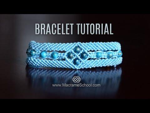 macramè - bracciale a fascia con perline