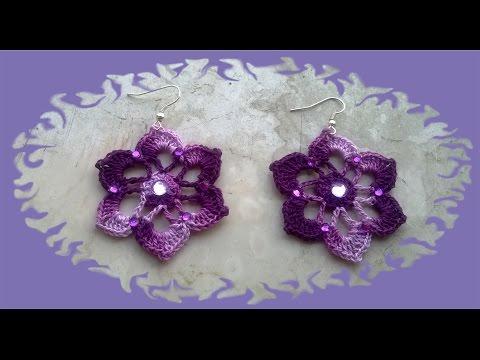 uncinetto - orecchini a forma di fiore