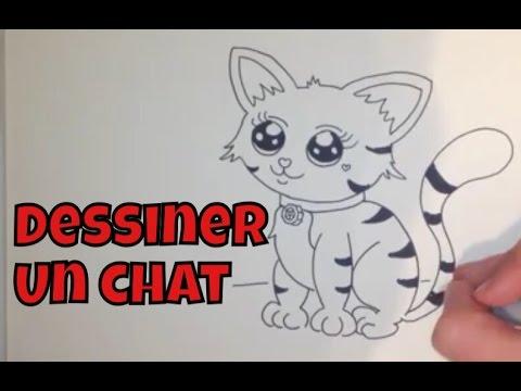 Comment dessiner un chat youtube - Apprendre a dessiner des animaux mignon ...
